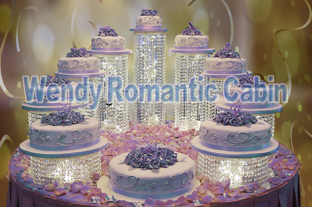 9pcs/set Crystal Cake Stand For Party Cake Accessory Cupcake Stand Crystal  Wedding Dessert Pan