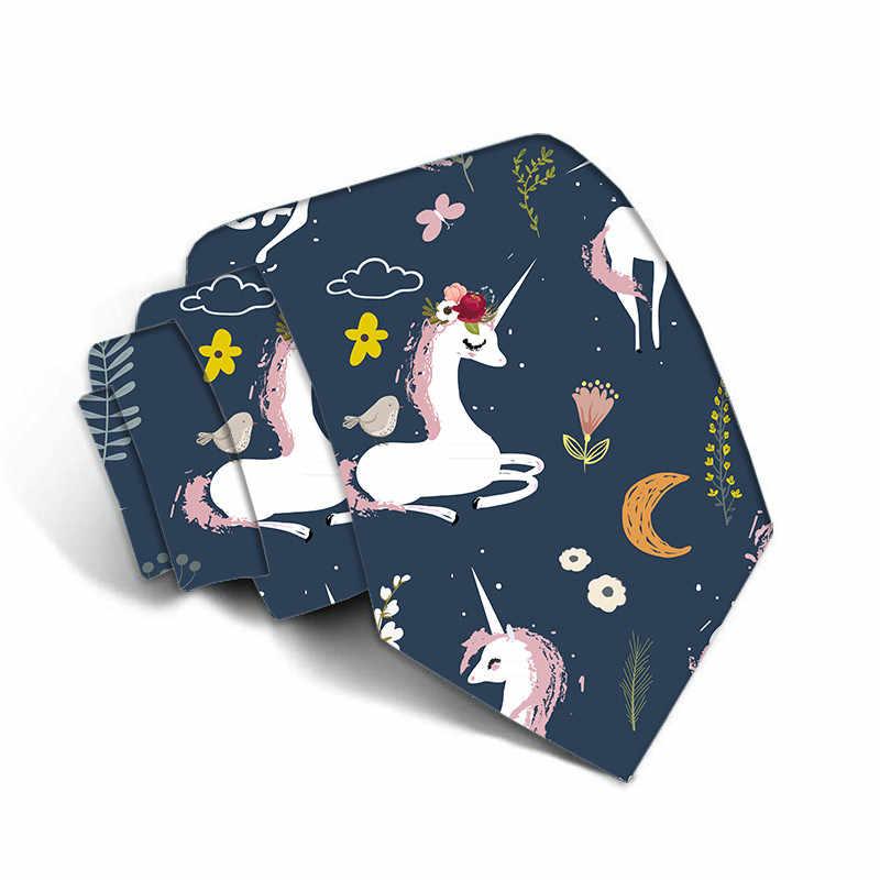 Классическая мода Шелковый Для мужчин Единорог галстук Печать фестиваль галстуки с принтом 8 см тонкий шейный галстук узкий галстук для Свадебная вечеринка 5S-LD02