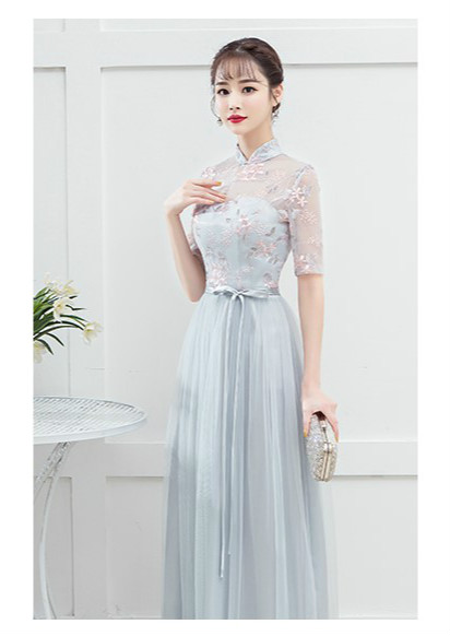 Blue Grey Adult Women   Bridesmaid     Dresses   Wedding Guest   Dress   Embroidery Empire Back of Bandage