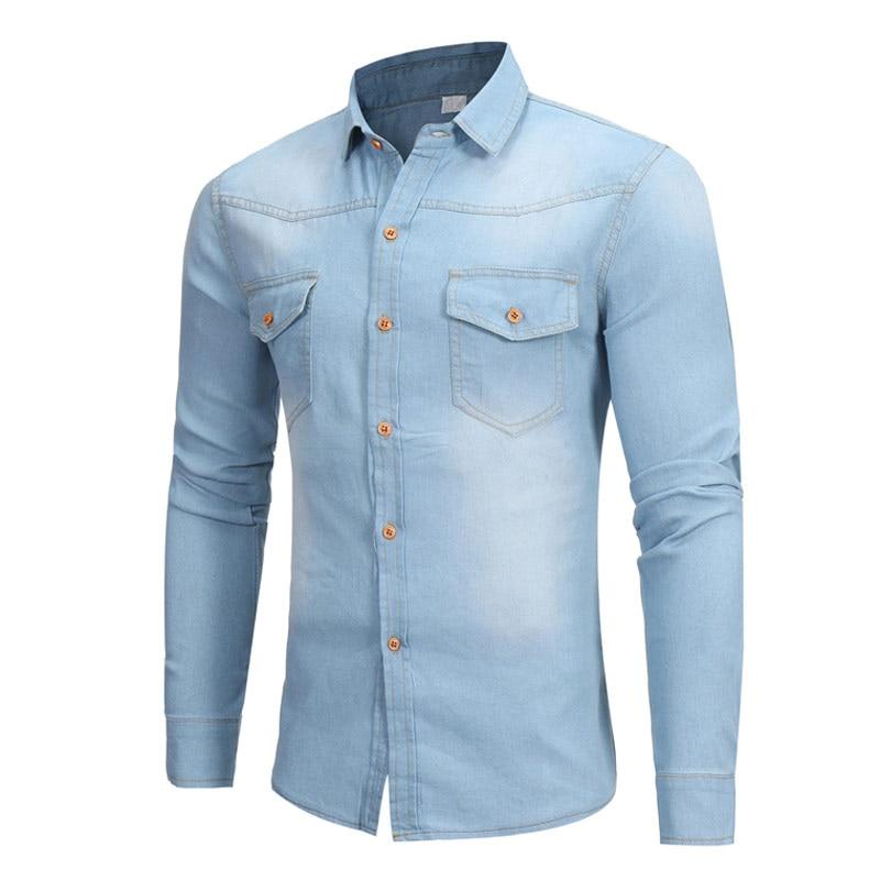 Vintage Blue Denim Shirt Men Long Sleeve Casual Slim Fit Camisa Masculina Solid Youth Classic Streetwear Cool Jean Shirt Men