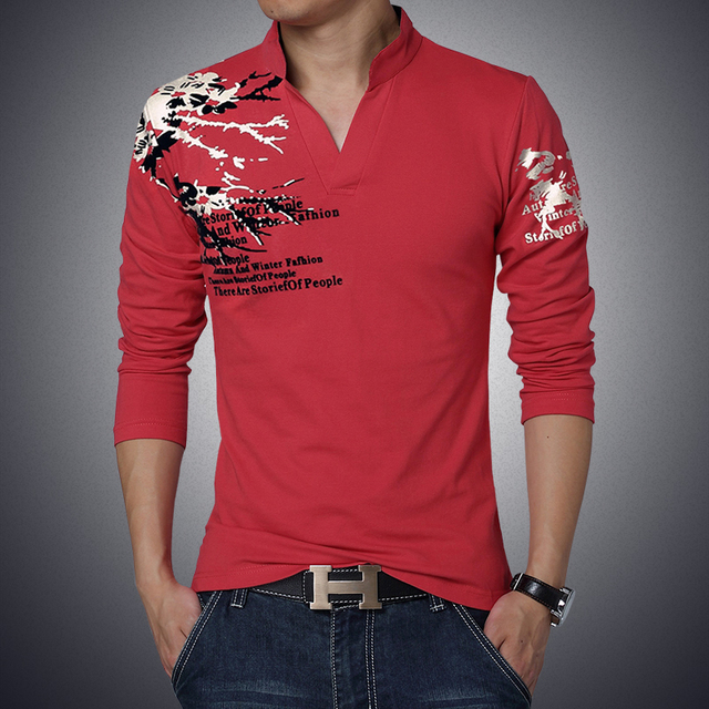 2017 Brand Men's Stand Collar Cotton T-shirt Men Long Sleeve Casual Tops Tees Male High Quality Classic Print Undershirt Size5XL