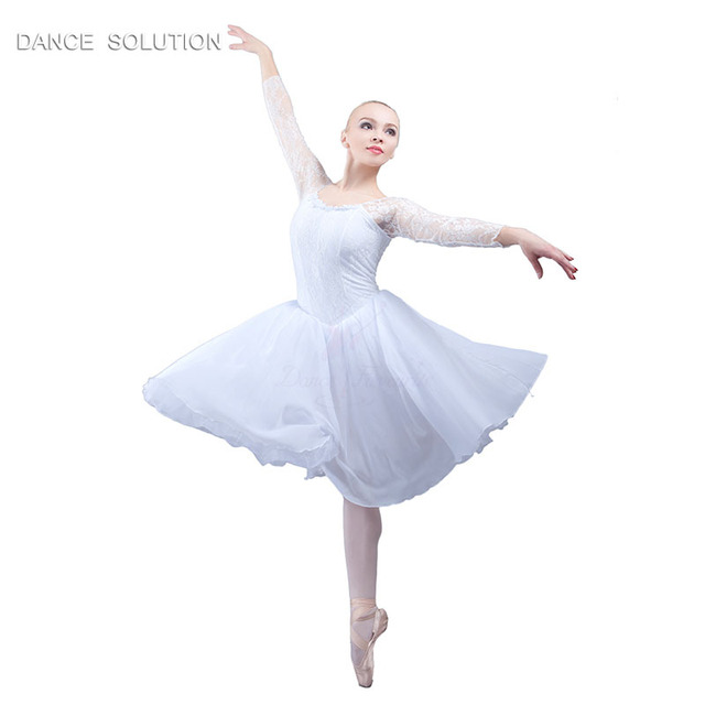 7c5d118ed3f3 Long Sleeve White Ballet Dress Girl Lyrical Dance Dress Contemporary ...