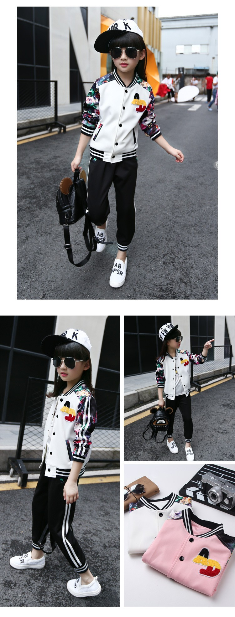 flowers printed autumn tracksuit suits kids autumn pants sports girls clothes set girls outfits baseball jackets tops pants active clothes suits for girls  6 7 8 9 10 11 12 13 14 15 16 years old little teenage big girls girls boutique cloth (5)