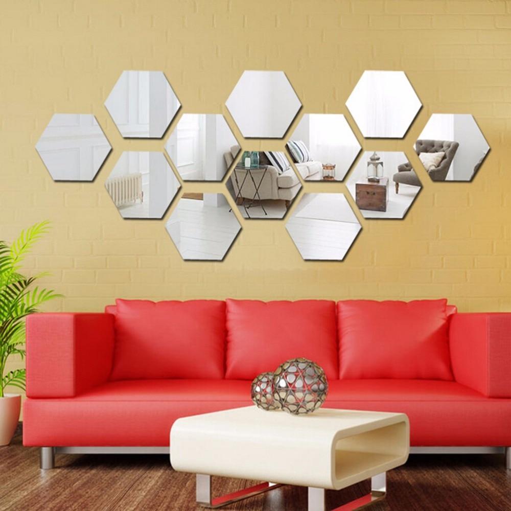 Three dimensional hexagonal 12 PCS Wall Decoration Acrylic ...