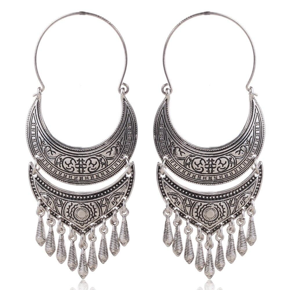 Vintage Ethnic Big Statement Hanging Earrings Antique Gold Silver Boho Long Tassel Water Drop Earrings For Women Pendientes