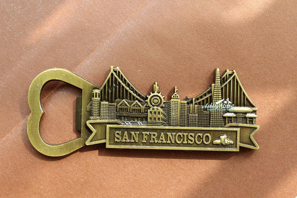 USA San Francisco 3D Metall Kühlschrankmagnete Fridge Magnet Flaschenöffner
