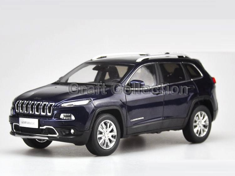 * Blue 1/18 Diecast Car Model for Jeep Cherokee 2016 Off Road Vehicle SUV Alloy Toy Car 1 18 scale red jeep wrangler willys alloy diecast model car off road vehicle model toys for children gifts collections