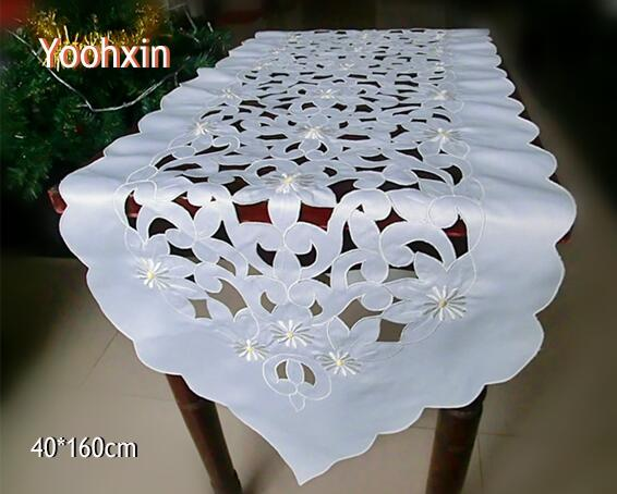 Modern White Satin Embroidery Bed Table Runner Cloth Cover Dining Lace Tea Coffee Cutwork Tablecloth Christmas Wedding Decor