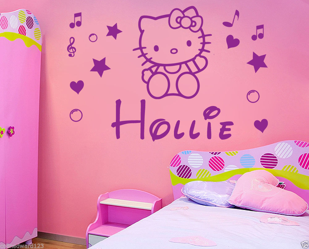 Hot Sell Wholesale Personalised Hello Kitty Name Decal Wall