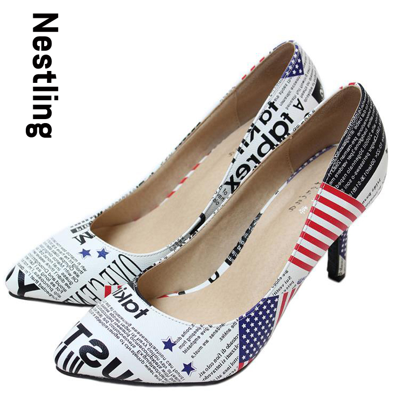New 2017 Pointed Toe American Flag Women Pumps Genuine Leather Womens High Heels Shoes Woman Big Size 34-41 SMYCN-B0002