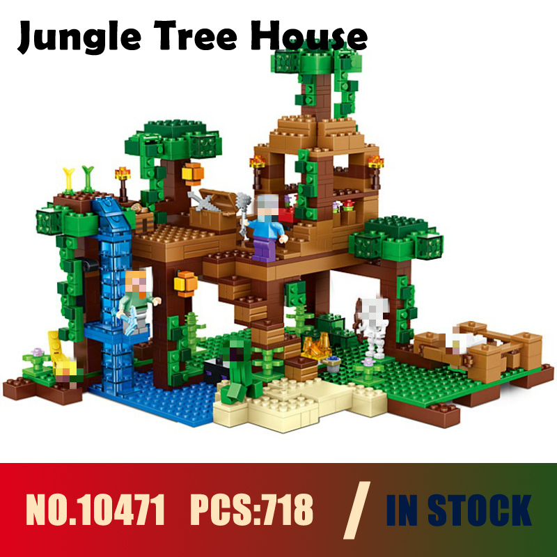 Models building toy 10471 718pcs My World Jungle Tree House Building Blocks Compatible with lego 21125 toy & hobbies lepin 18003 my world series the jungle tree house model building blocks set compatible original 21125 mini toys for children
