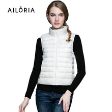 Ailoria 2017 New Top Quality Brand Winter Autumn Stand Collar Women 90% Duck Down Vest Coat Female Waistcoat Outerwear Jacket