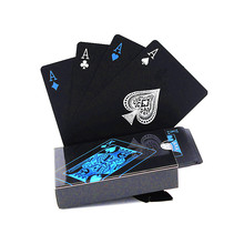 High Quality Plastic Waterproof Black Playing Cards PVC Poker Creative Gift Durable