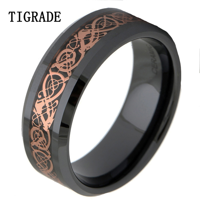 9dd540b41e1027 8mm Black Ceramic Gold Dragon Ring Men Women's Accessories Finger Fashion  Jewelry Promise Wedding Engagement bague ceramique