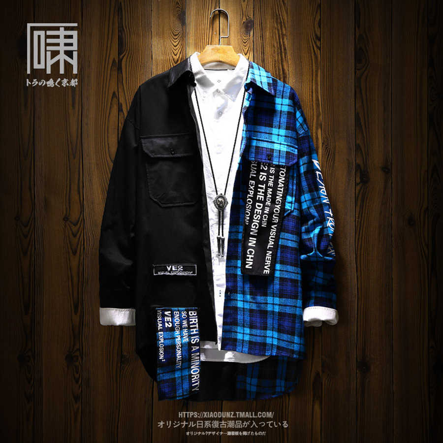 Hip Hop Blue Long Sleeve Shirt Men Floral 2019 Black Summer Japanese Korean Streetwear Hip Hop Oversized Check Casual Plaid