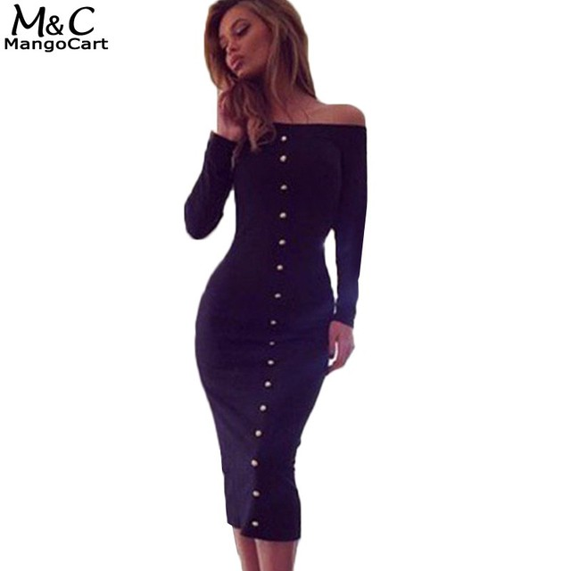 Womens Dresses spring Autumn Long Sleeve Bodycon Dress Plus Size off ...