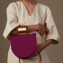 Vintage Semicircle Saddle Bags Women Shoulder Round Metal Handle Handbags Width Strap Lady Solid Messenger Bag Female