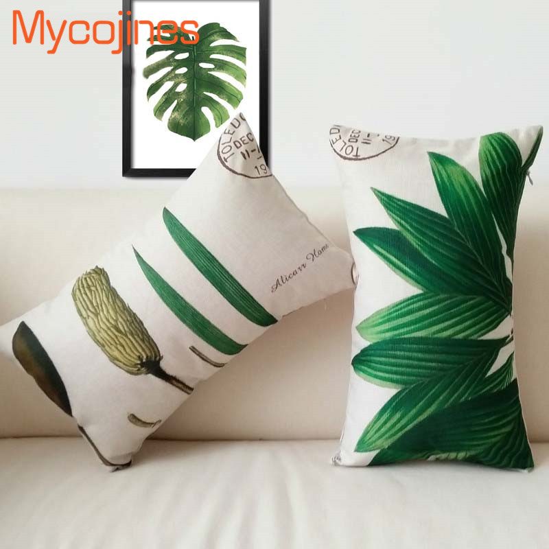 Rectangle Pillow Cover Watercolor Plant Nordic Waist