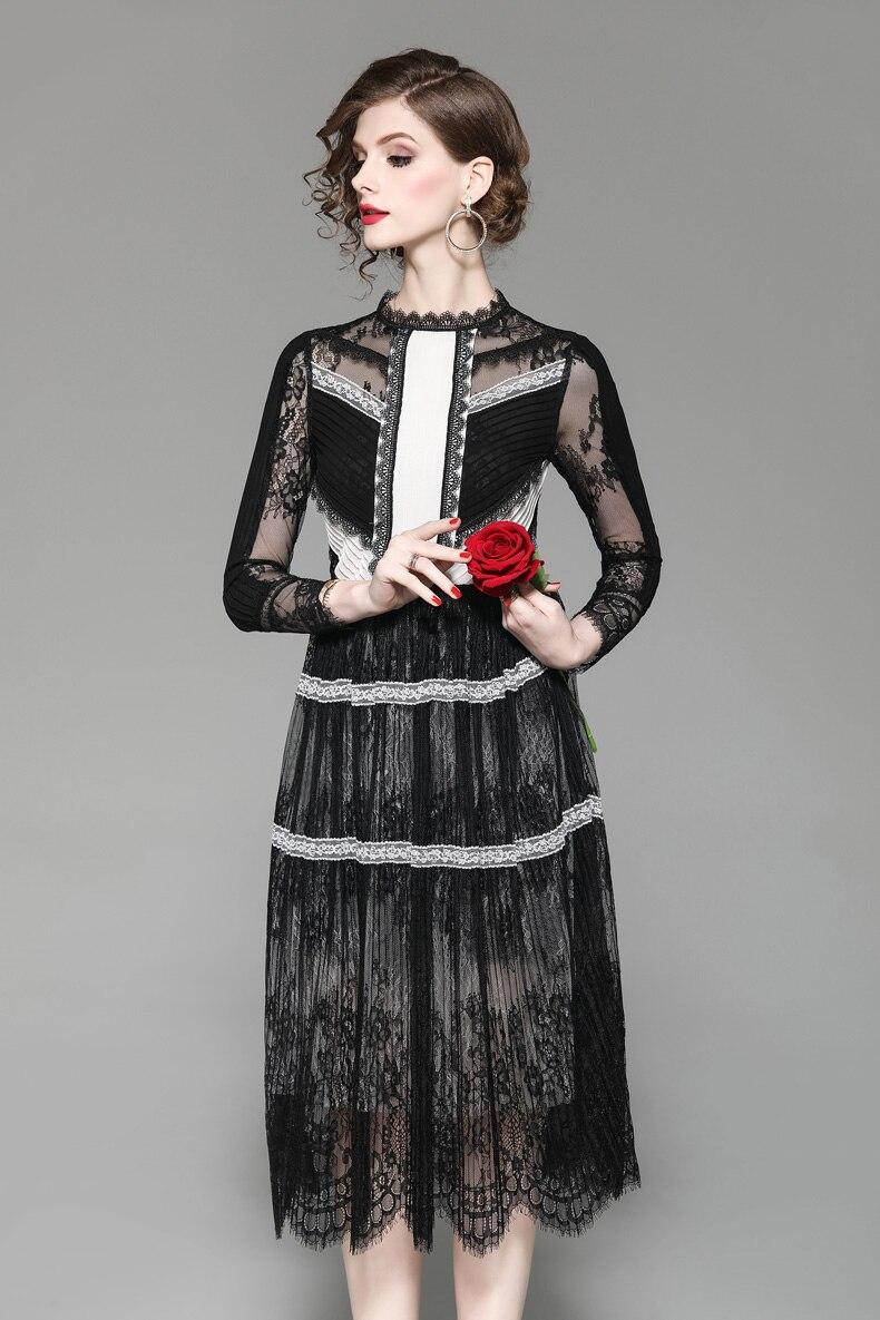 新着女性の O ネック 3/4 袖刺繍レースのパッチワークカラーブロックファッションデザイナーカジュアルドレス  グループ上の レディース衣服 からの ドレス の中 2