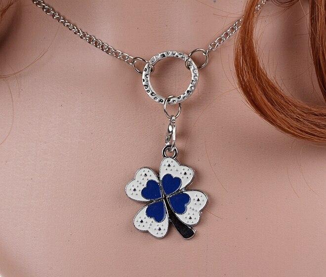 39ed105b74094c Emalia Four Leaf Clover Charms Vintage Srebrny Choker Obroża Naszyjnik  Wisiorek Biżuteria Dla Kobiet DIY Dodatki Odzieżowe HOT A13