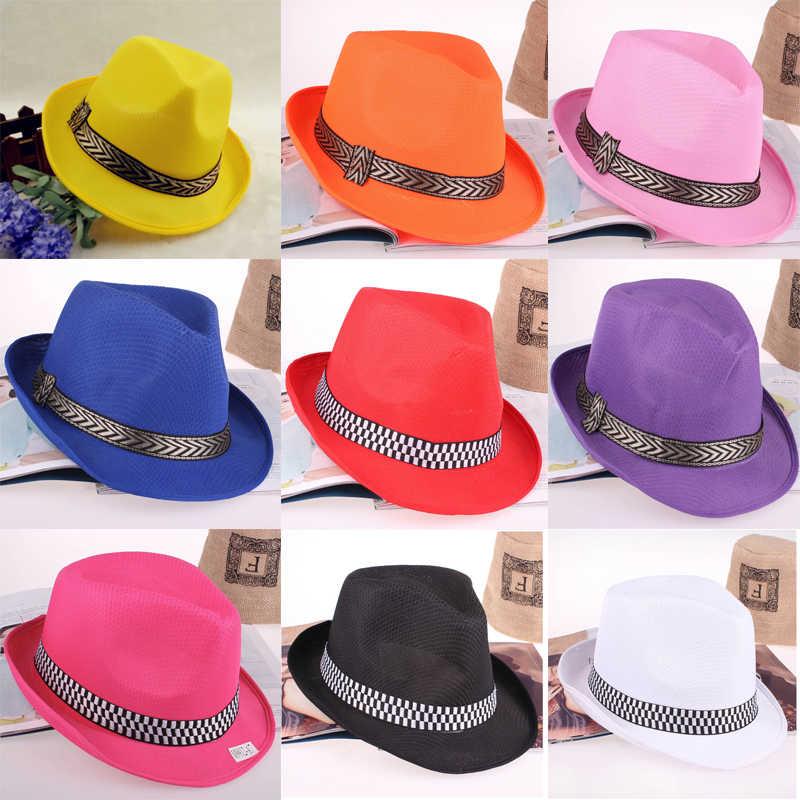 Sombreros Fedora Panamá de verano baratos para niños hombres mujeres banda  a rayas Jazz Borsalino sombrero d15a4b03c82