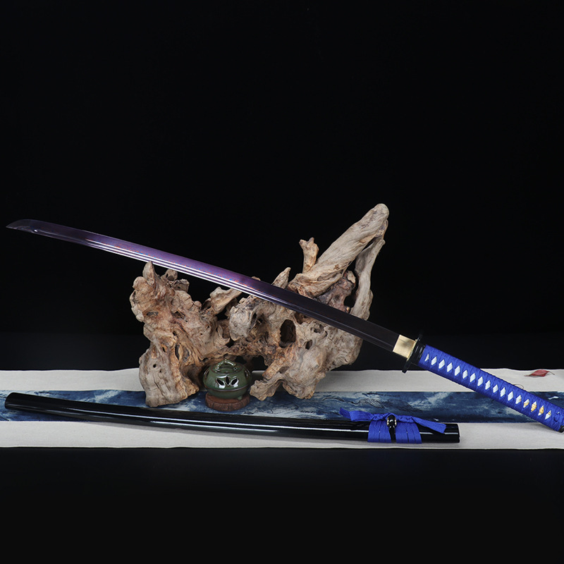 Japonês faca guerreiro Katana 103 cm ferro quadriculada Preto bainha de madeira qualidade superior espada não sharp