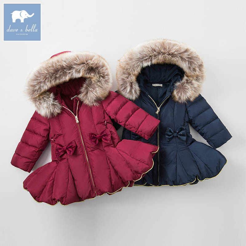 DB6099 David bella invierno Bebé niñas chaqueta abajo niños 90% pato blanco abajo acolchado abrigo niños ropa de abrigo con capucha