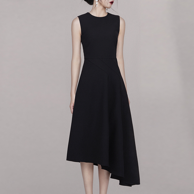 Max Spri 2019 Summer New Fashion Elegant Women O Neck Sleeveless A Line Midi Irregular Hemline Office Lady Black Dress in Dresses from Women 39 s Clothing