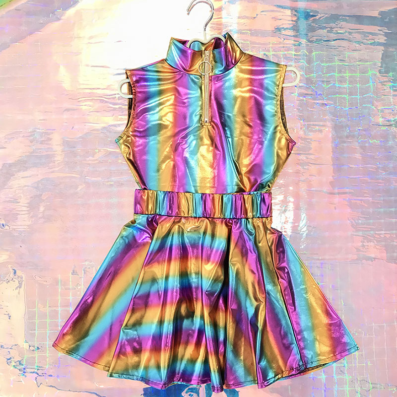 New holographic jazz Modern hip-hop dance Costumes Woman Cheerleading stage dance Costumes for Adult Vest + skirt