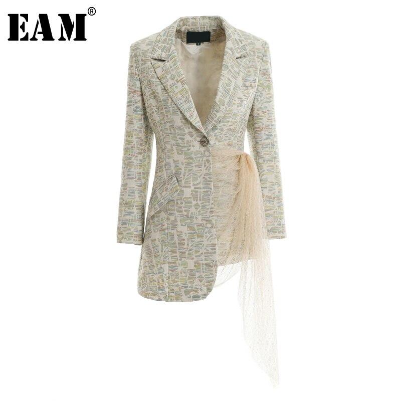 EAM 2019 New Spring Summer Lapel Long Sleeve Jacquard Pattern Irregular Mesh Stitch Jacket Women