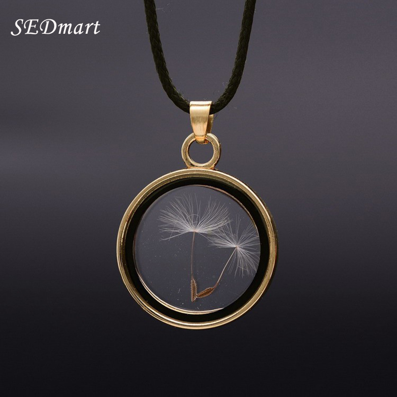 SEDmart Real Dandelions Seed Floating Locket Glass Pendant Necklace Women s Novetly