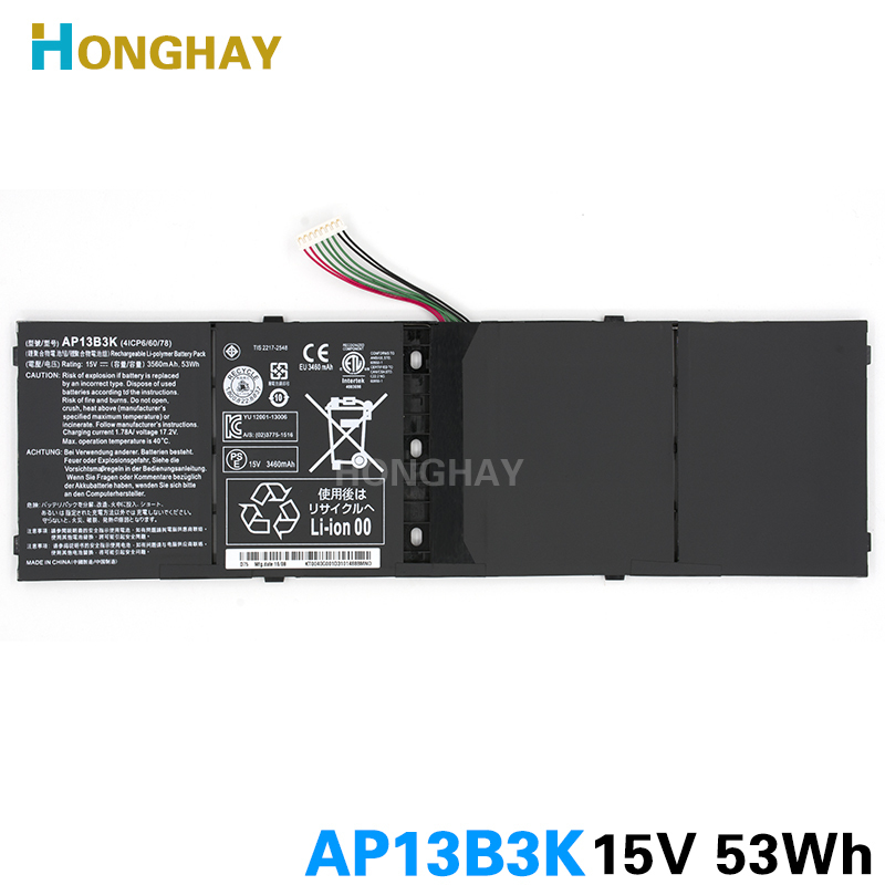 Honghay AP13B3K Laptop Battery for Acer Aspire V5 R7 V5-572G V5-573G V5-472G V5-473G V5-552G M5-583P V5-572P R7-571 AP13B8K laptop dc power jack cable socket connector for acer aspire v5 v5 571 v5 431pg v5 531p v5 571g v5 471 v5 431 v5 531 s3 s3 471