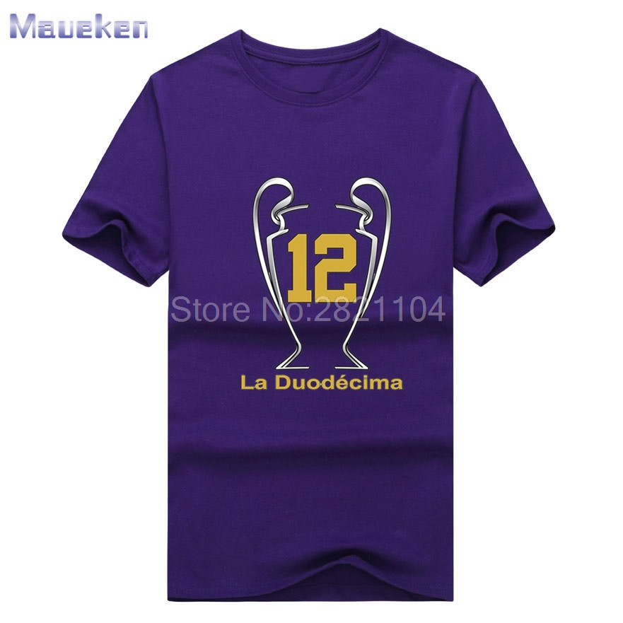 New design real XII Champions League Winners 12 la Duodecima Short Sleeve T  Shirt Man for hala madrid ronaldo fans T shirt-in T-Shirts from Men s  Clothing ... 2e89a831b91ea