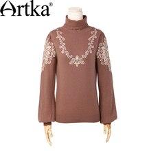 Artka Women's Autumn New 2 Colors Jarquard Wool Sweater Vintage Turtleneck Lantern Sleeve Comfy All-match Knitwear YB12665Q