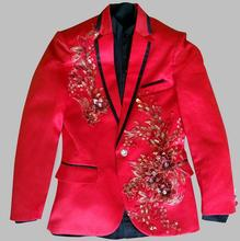 CH.KWOK Red Prom Suit Mens Sequin Tuxedo Size 3XL 4XL Men Sequin Blazer Suit Wedding Groom Suits DJ Prom Tuxedos Stage Singers