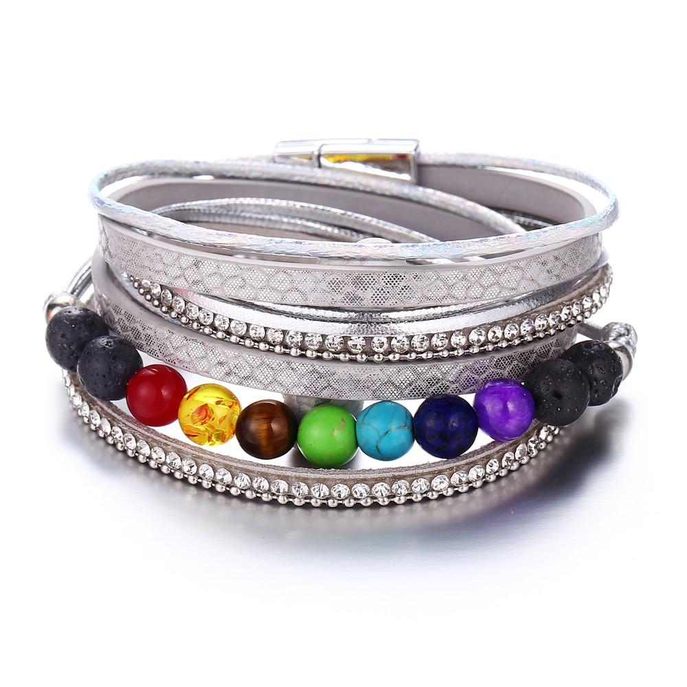 IF ME 7 Chakra Beads Bracelet Bangles for Women Leather Bracelet White Colorful Healing Balance Stones Fashion Yoga Jewelry New