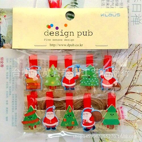 10Pcs/Lot Kawaii Santa Claus  Wooden Clip Photo Clothespin Craft Clips Party Decoration Clip With Hemp Rope