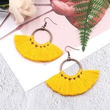 Ruifan 11 Color Sector Tassel Bohemian Earrings Europe Fashion Handmade Ear Hook Drop Earring Boho Jewelry Gift Girl YEA316