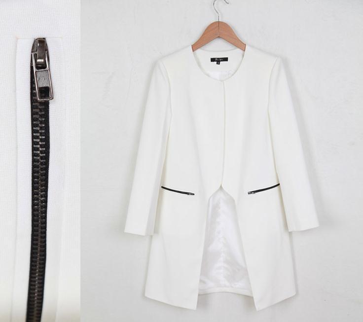 female white coat jacket fashion slim trench outerwear Sexy Women