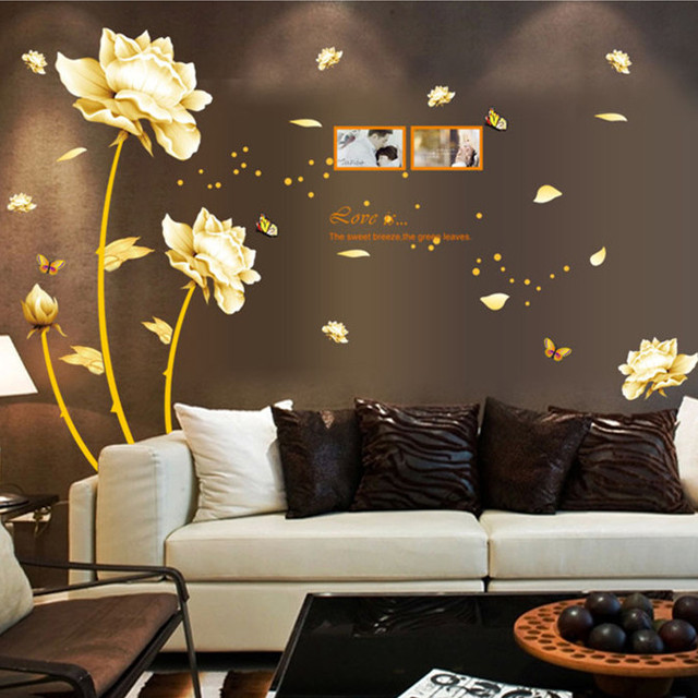 Latest Luxury Gold Flowers TV Background Exclusive Wall Stickers Home Decor  In Living Room Sofa Decal