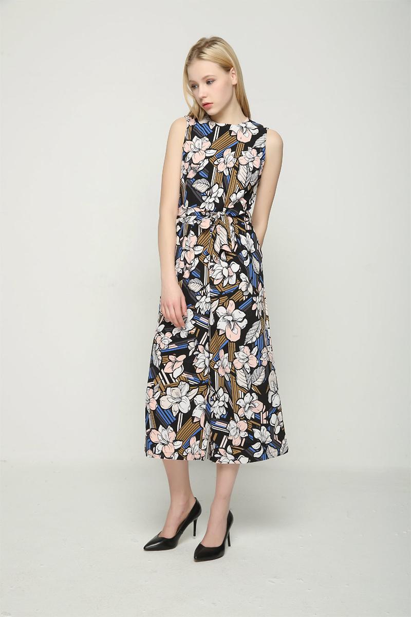 Bella Philosophy 2017 spring summer jumpsuit Women floral print bow waist jumpsuit sleeveless wide leg jumpsuit 4