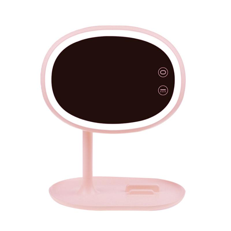 LED Lighted Makeup Mirror Rechargeable Cosmetic Mirror with Table Lamp for Bedroom Decoration USB Charge (Pink) 3 in 1 led makeup mirror with table lamp for bedroom decor table storage cosmetic mirror usb charging rotation white pink color