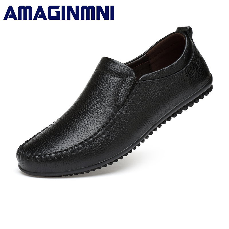 AMAGINMNI High Quality Genuine Leather Men Shoes Soft Moccasins Loafers Fashion Brand Casual Men Flats Comfy Driving Shoes men casual shoes genuine leather fashion moccasins men flats loafers soft bottom leisure driving shoes male footwear rmc 411