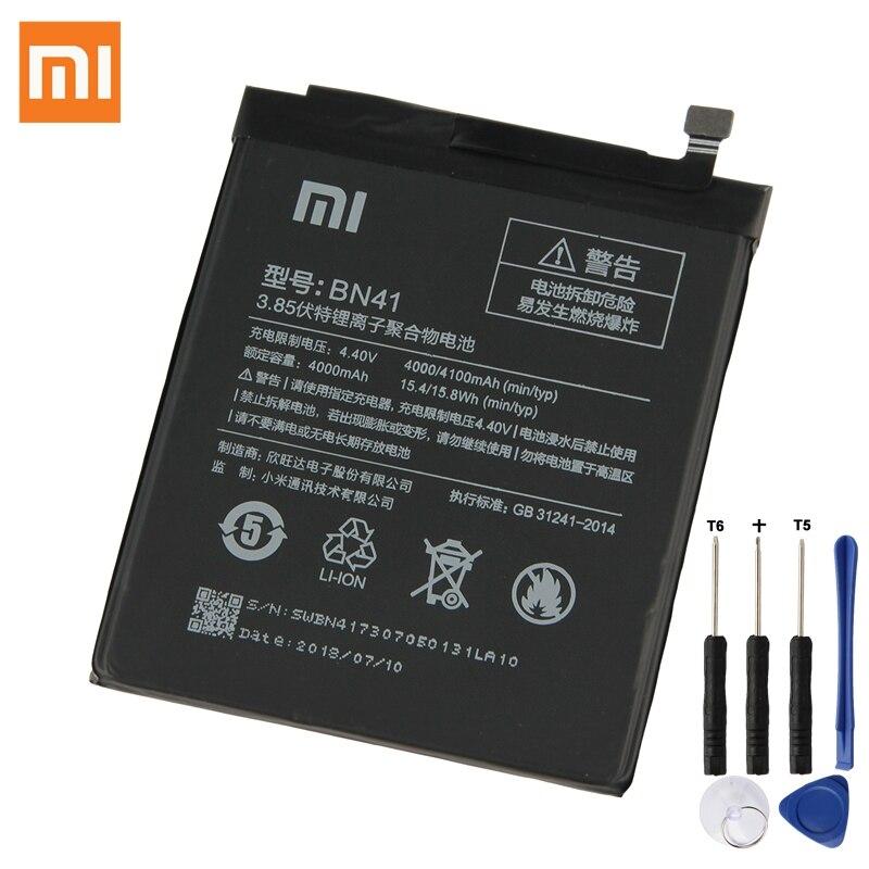 Xiaomi D'origine Batterie De Remplacement BN41 Pour xiaomi Rouge mi Note 4 mi Redrice Note4 4G + Haute-fin configuration Batterie 4100 mAh