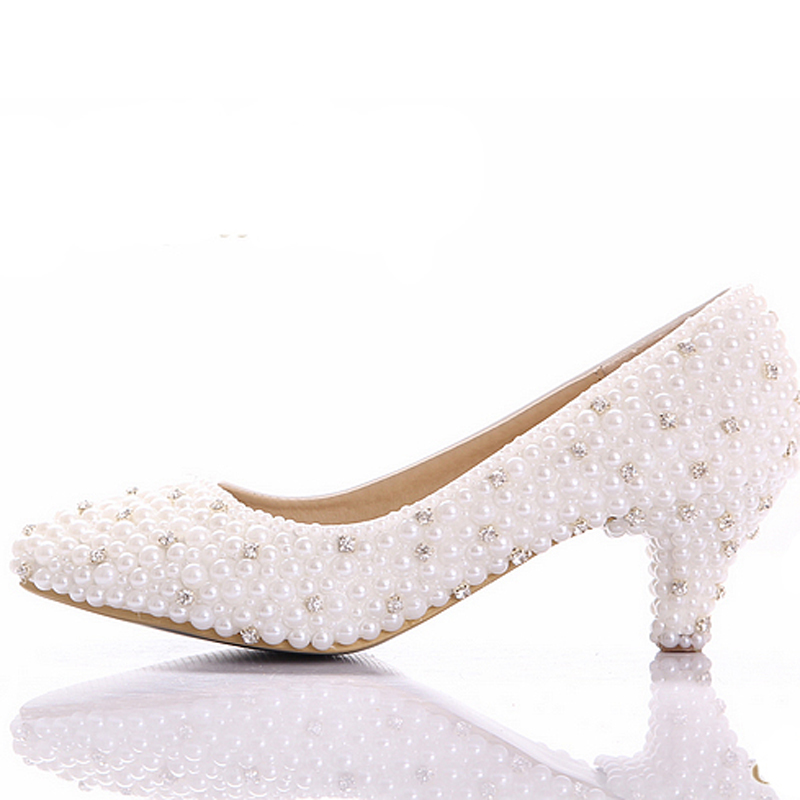 2016 Best white pearl Low heels shoes Custom make small heel