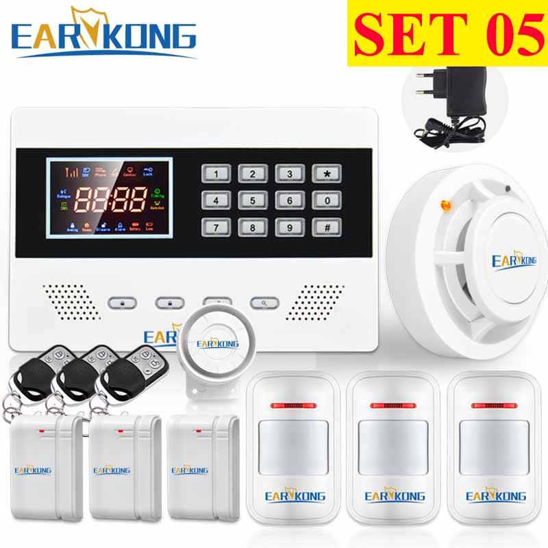 GSM Alarm System Russian English Spanish French Portuguese Polish Smoke Detector Door Open Motion Sensor 433MHz Wireless Alarm yongkang wireless 433mhz 1527 200k smoke detector for gsm alarm system