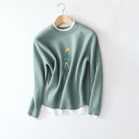 Character Embroidery Sweater Women Style Knitted Sweater Tops 2017 Autumn Winter O Neck Sweater S M