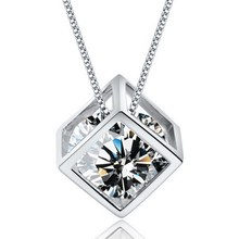 New Fashion Romantic Silver Austria Crystal Square Cube Heart & Arrows Drop Pendant Necklace with SWA Elements