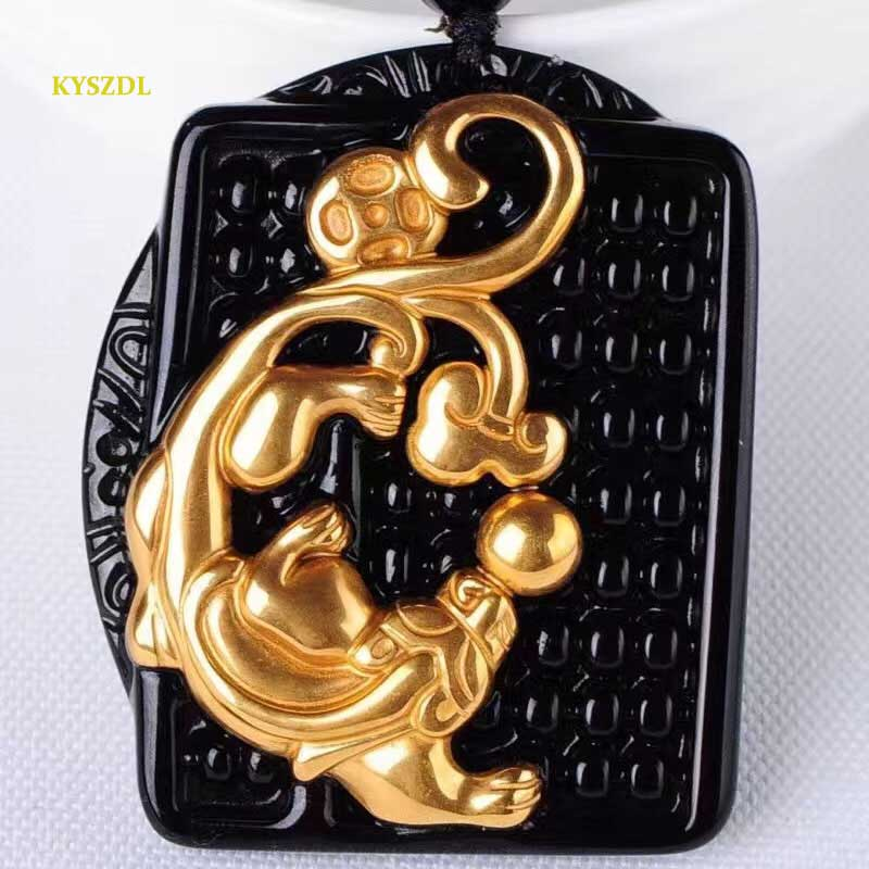 KYSZDL Natural black obsidian carving Pixiu pendant men and women fashion pure gold color crystal jewelry