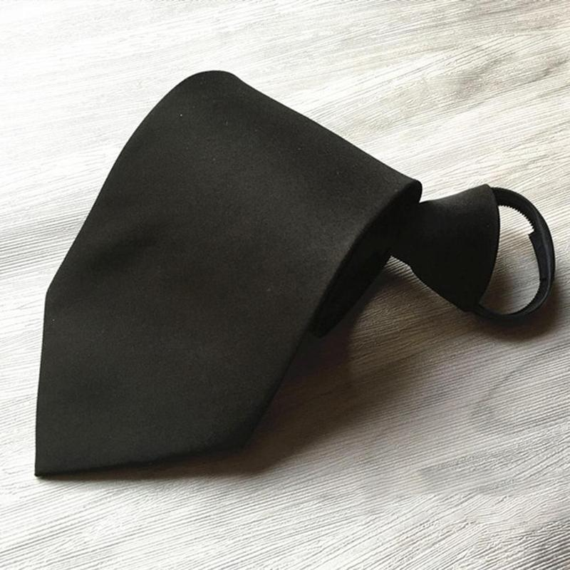 Solid Business Necktie Men's Formal Ties Classic Black Polyester Male Skinny 8CM Casual Neck Tie With Zipper Shirt Accessories